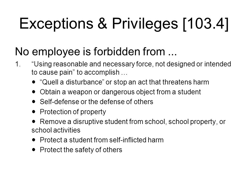 Exceptions & Privileges [103.4]